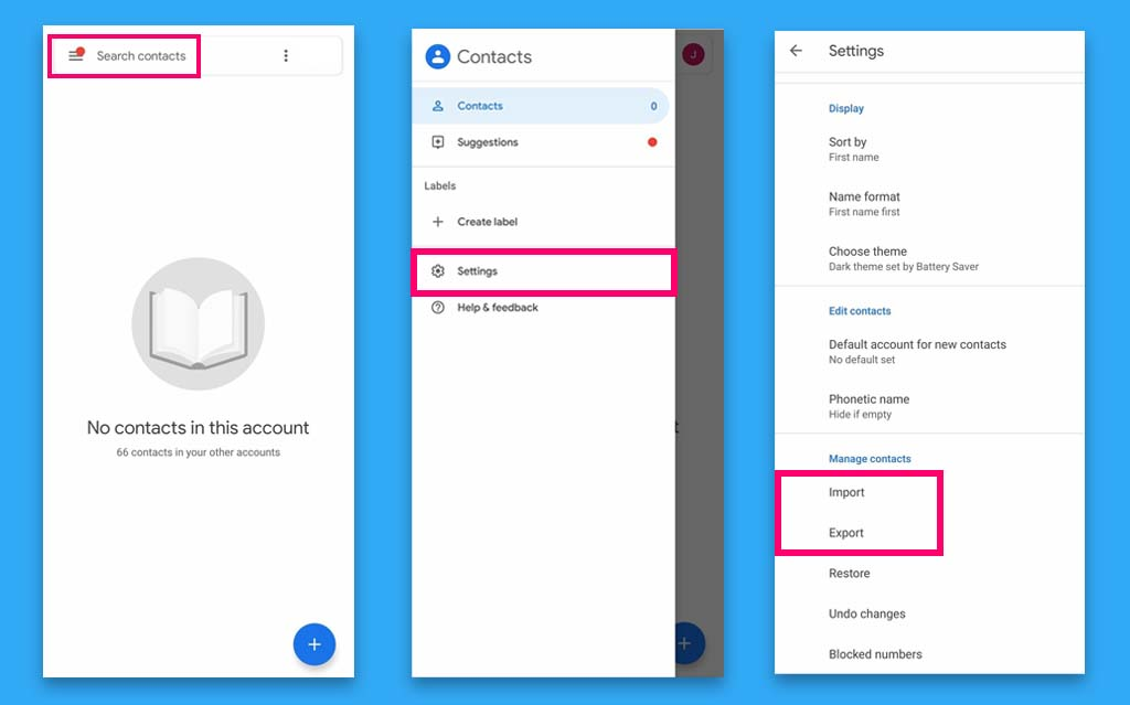 How to Backup Contacts